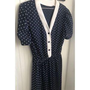 Iconic Vintage Polka Dot Navy Midi Dress